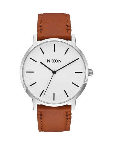 Porter Leather 40 mm Silver/Brown