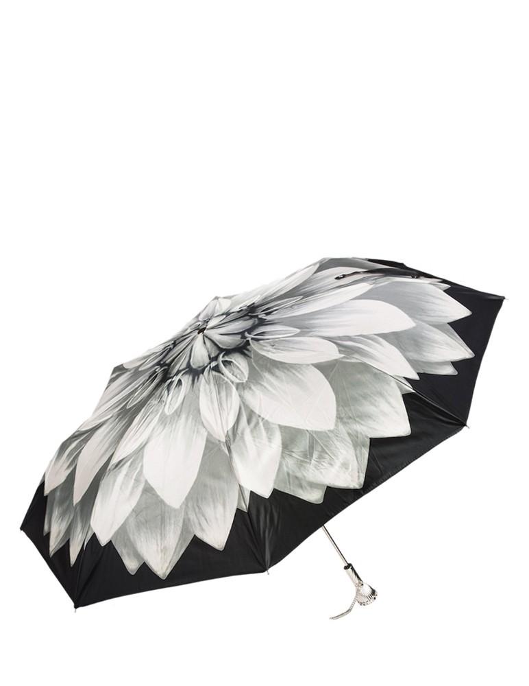 Silver Dahlia Folding Umbrella