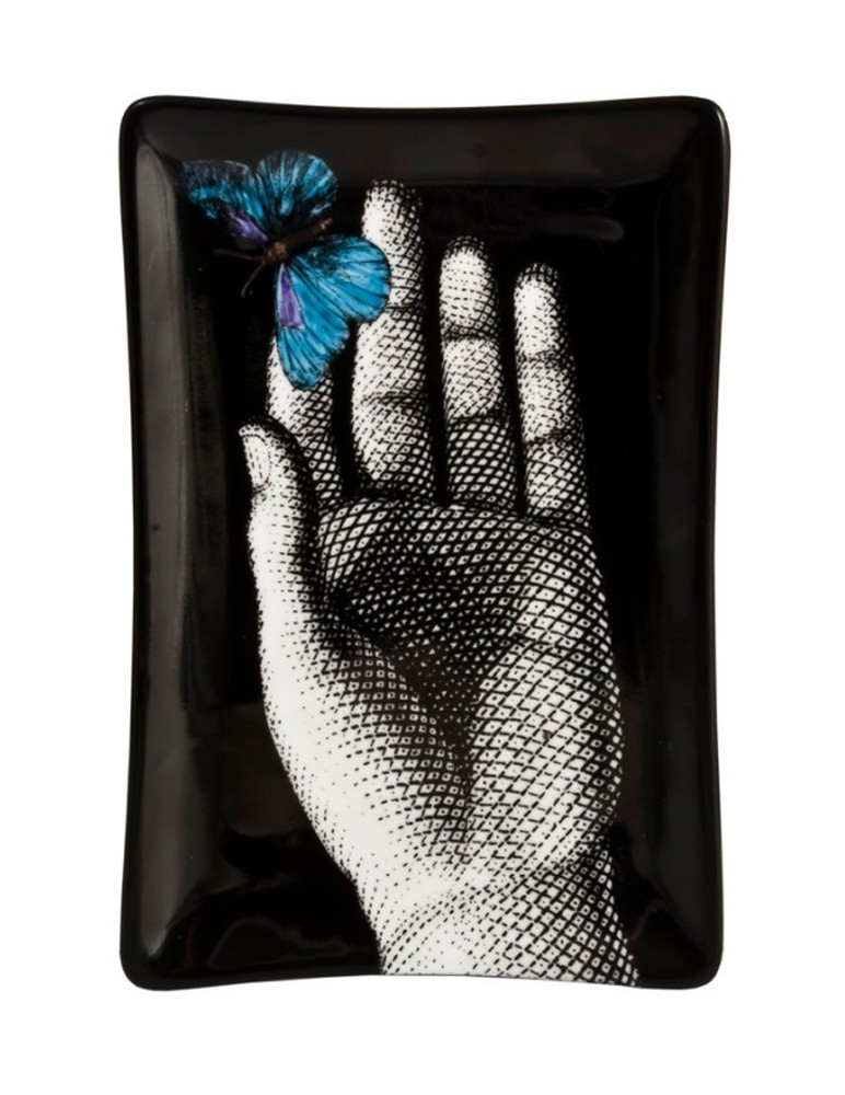 'Mano' Rectangular Ashtray - Blue Butterfly