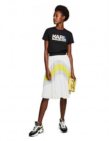 Colour-block pleated skirt