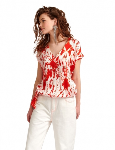 Off-white and red tie-dyed silk top