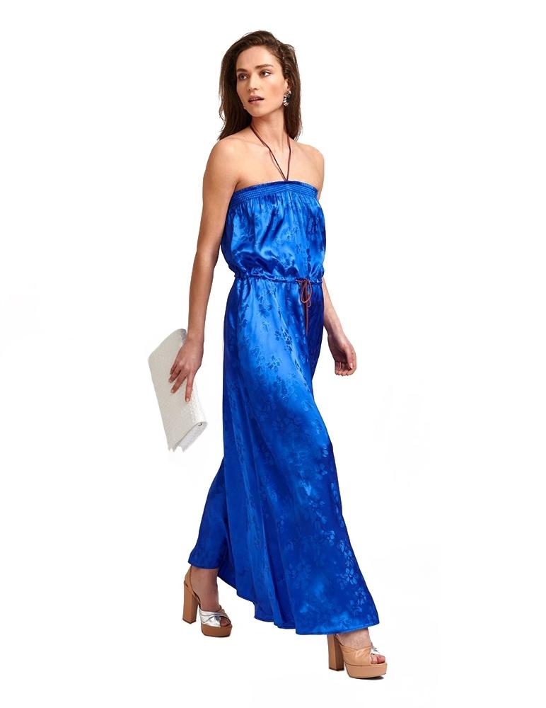 Cobalt blue floral-print...