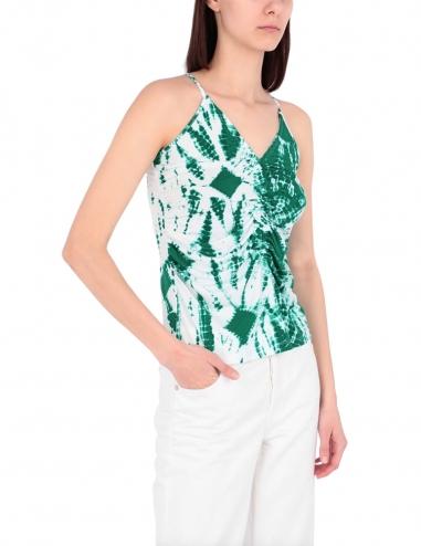 Green villary thin straps top