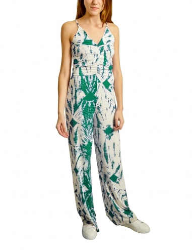 Off-white and green tie-dyed jumpsuit