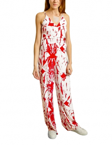 Off-white and red tie-dyed jumpsuit