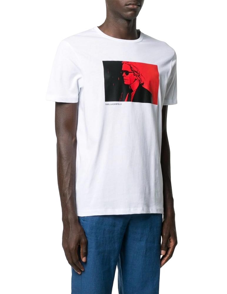 Camiseta blanca retrato Karl