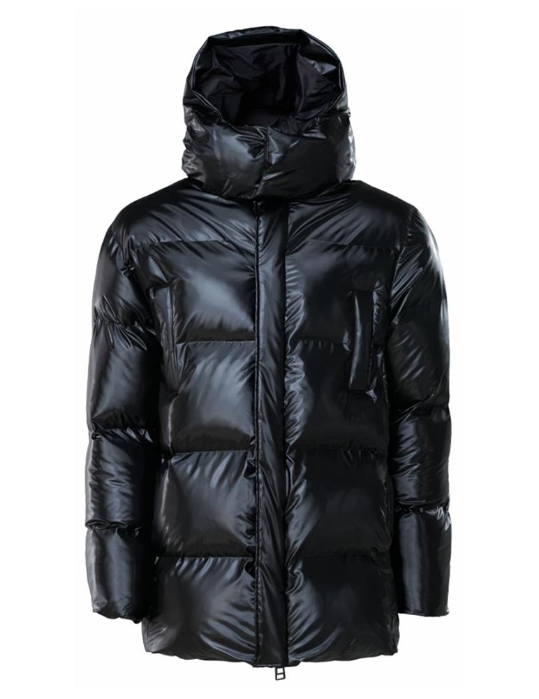 Puffer hooded coat shiny black