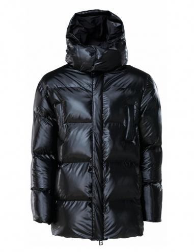 Abrigo acolchado con capucha negro...